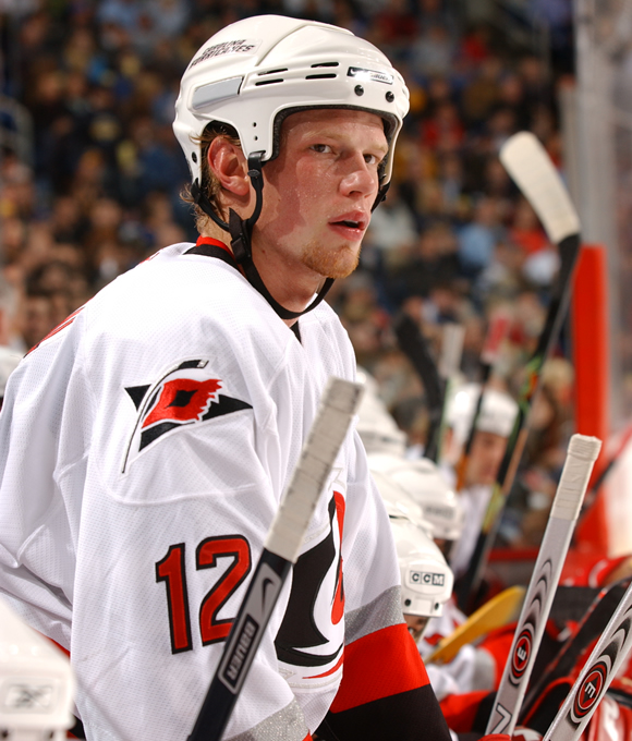 Eric Joseph Brent Staal was the 2nd overall selection in the 2003 NHL Entry Draft by the Carolina Hurricanes. He played for the Peterborough Petes of the Ontario Hockey League prior to joining the `Canes, scoring 98 points in 66 games.