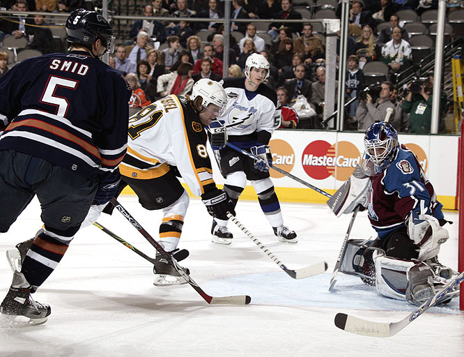 Bruins rookie Phil Kessel (81) managed to slide a puck under the Avs' Peter Budaj.