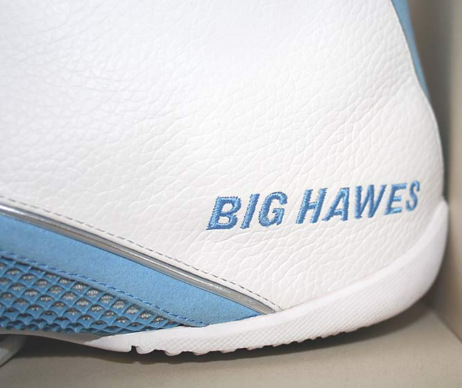 "Here's a close-up of the custom-made Air Jordan's on the shelf. Nike actually sewed ""GIB HAWES"" into the first pair. ""I don't know how you mess up GIB with BIG, but I ended up with two pairs,"" Hawes said."