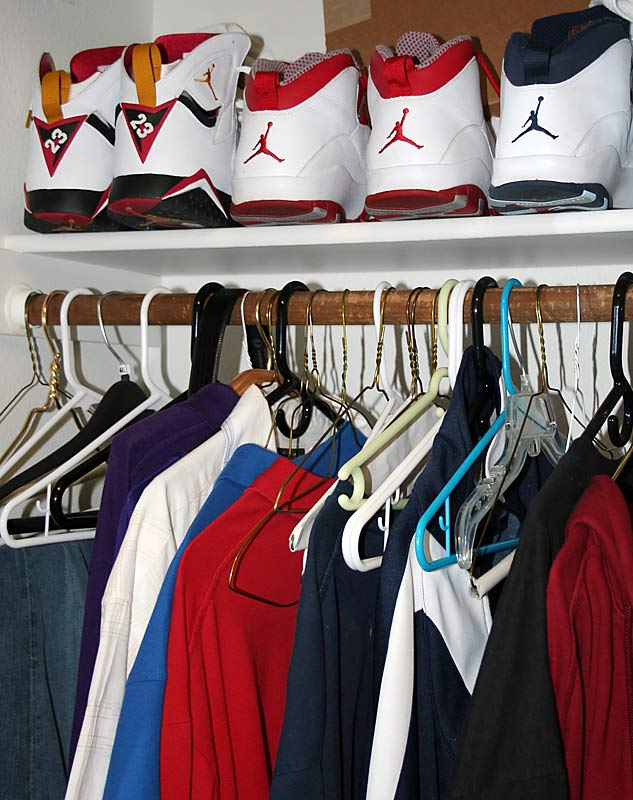 Here's a quick glance in the closet. More Air Jordan's and a bunch of empty hangers. To be fair, Spencer grew up in Seattle -- just minutes from campus -- so much of his wardrobe is at home.