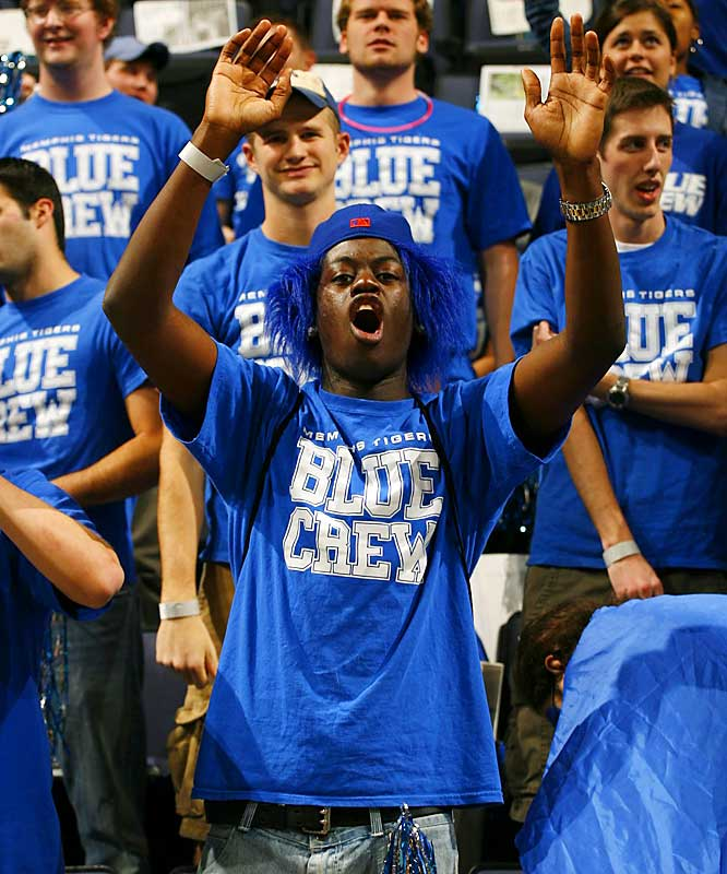 A member of Memphis' Blue Crew is on Cloud Nine after the Tigers' 99-63 victory over Rice on Thursday.