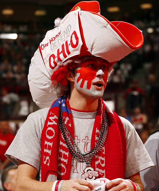 This  Ohio State fan put on his gameface (and hat) for the Buckeyes' 49-48 win over Big Ten rival Wisconsin.