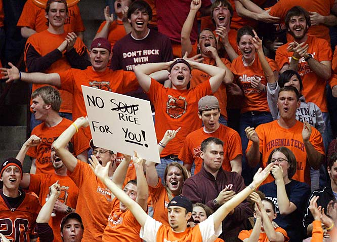 Virginia Tech basketball fans pay respect to Virginia native (and BC point guard) Tyrese Rice during the Hokies 79-62 victory over the Eagles.