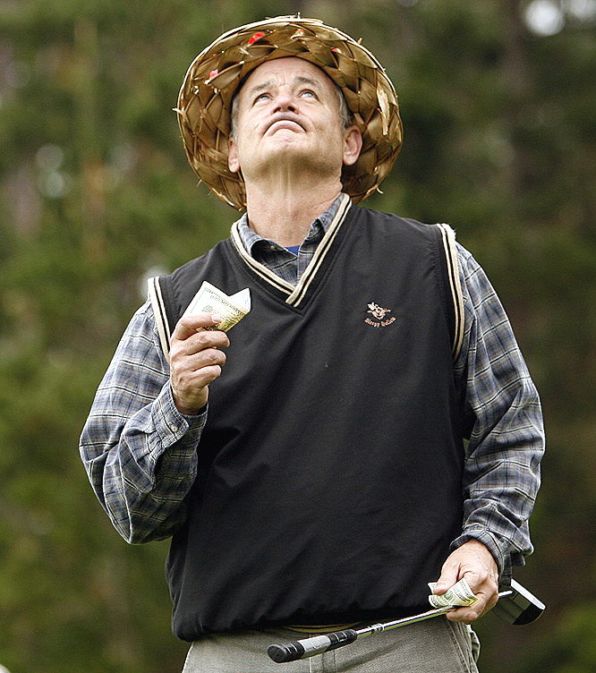 Bill Murray looks above for support.
