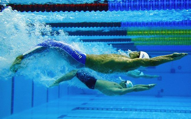 Japan's Junichi Miyashita swims the first leg of the 4x100 relay.