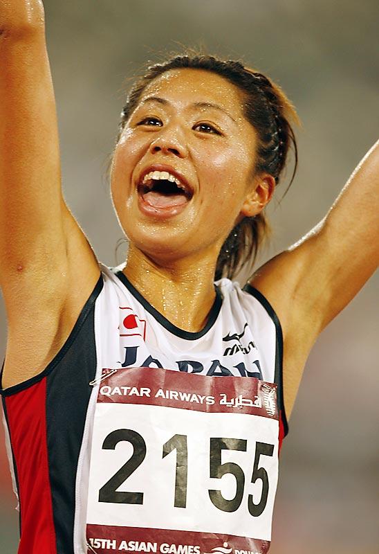 Kayoko Fukushi of Japan wins the women's 10,000.