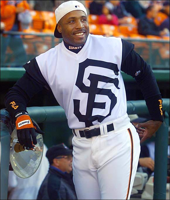Though slowed by an injury early on, Bonds returned in time to belt 34 home runs and steal 15 bases.