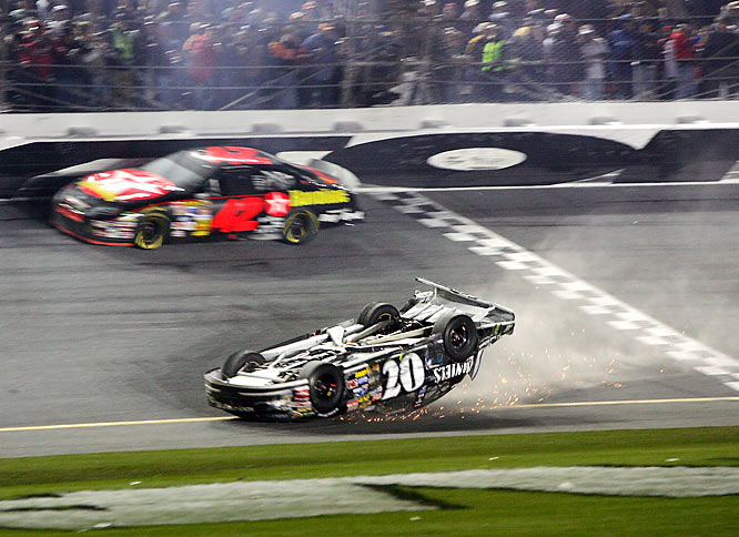 Clint Bowyer crosses the finish line upside down at the Daytona 500.