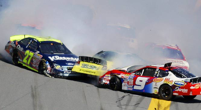 Kasey Kahne (9), Jamie McMurray (37) and Ward Burton (27) bang fenders during the Busch 300.