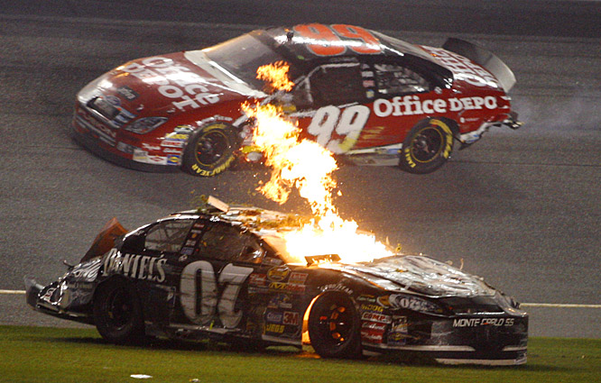 "After emerging from his fiery wreck on the final lap unscathed, Clint Bowyer, who finished 18th, said he thought the incident ""was pretty cool."""