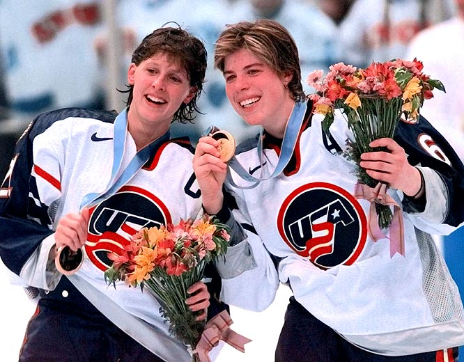 "The First Lady of U.S. Hockey, Cammi Granato (left) captained the U.S. team to a gold medal in 1998 - which ostensively introduced the country to the sport -- and a silver in 2002. She joined the U.S. women's national team in 1990 and played with USA Hockey until shortly before the 2006 Turin Olympics. ""We can all look at her scoring goals, but she is actually a builder,"" St. Louis Blues president John Davidson said. ""She helped build a sport."""
