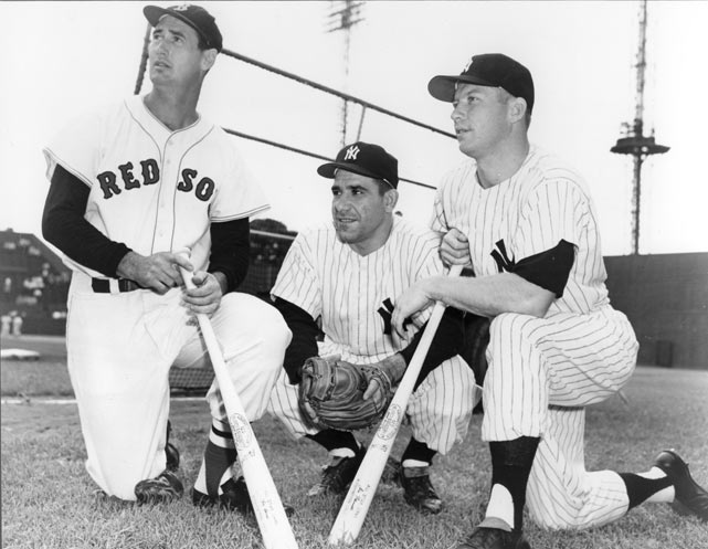 Ted Williams, Yogi Berra, and Mickey Mantle during a Red Sox-Yankees game in St. Petersburg, Fla.