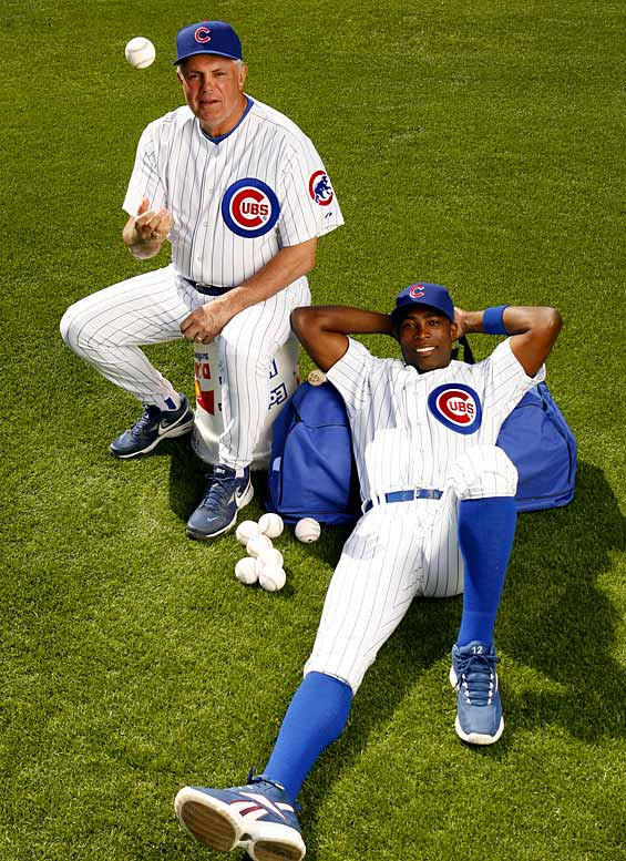 New Cubs manager Lou Piniella and Alfonso Soriano get acquainted at Chicago's spring training facility in Mesa, Ariz.