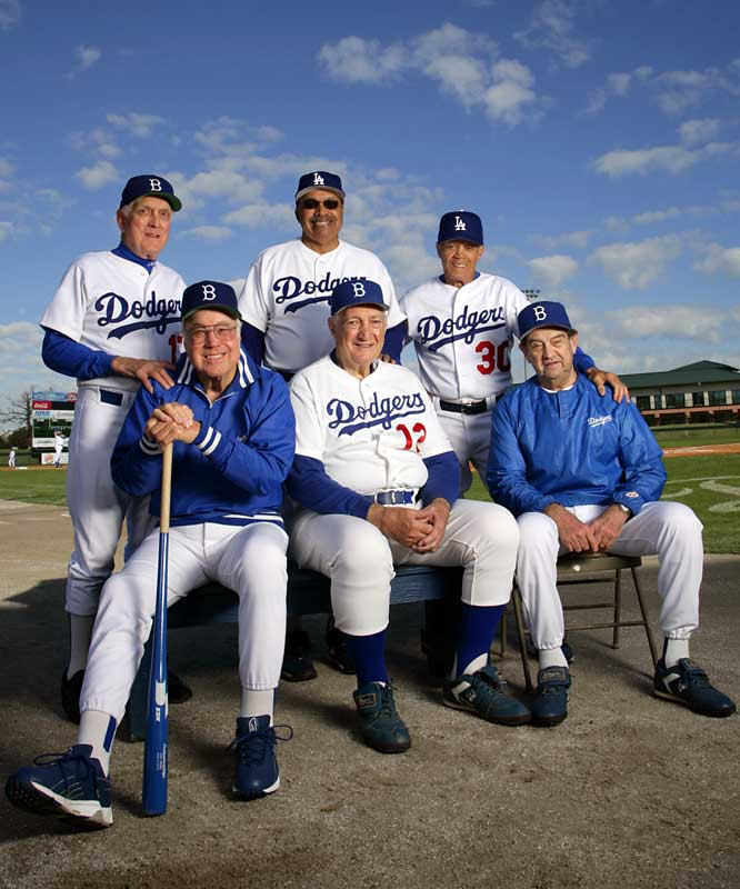 Old-time Dodgers greats Duke Snider, Carl Erskine, Clem Labine, Tommy Davis, Maury Wills and Ralph Branca reunite at Vero Beach on Feb. 8, 2007.