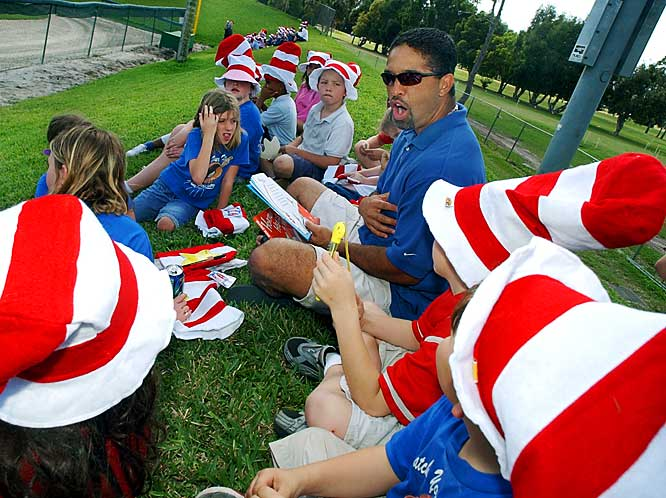 On Dr. Seuss' birthday in 2003, Dave Roberts and the Dodgers participated in the third annual Read Across America.