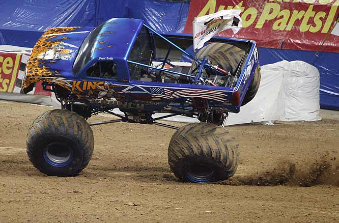 In the freestyle event, King Krunch started strong but rolled his truck halfway through the run.