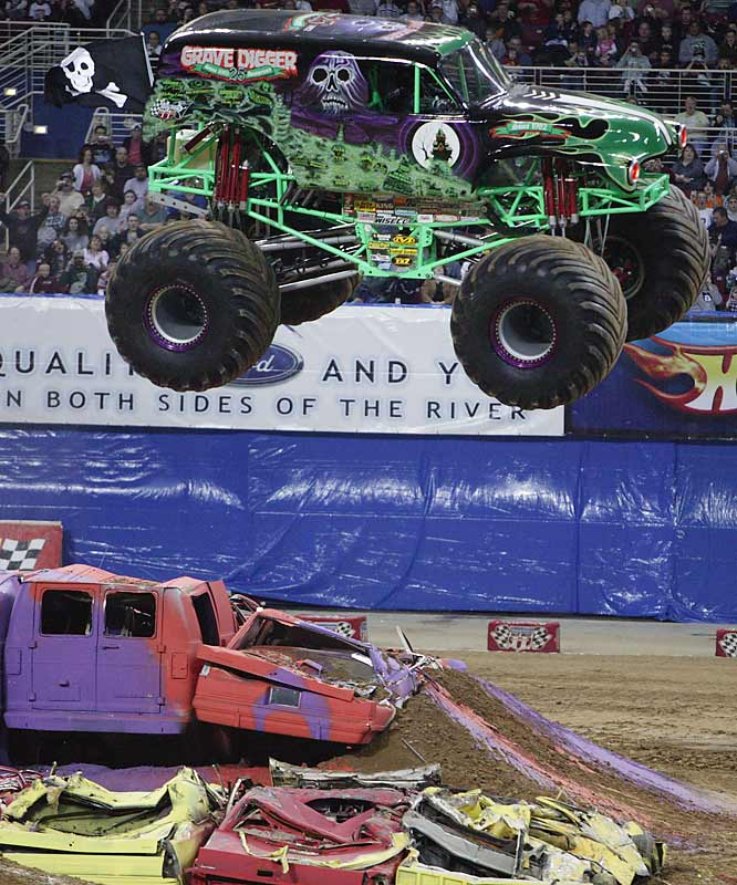 Grave Digger soared over obstacles in the freestyle competition...