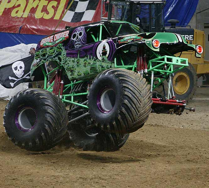 "Undaunted, driver Pablo Huffaker continued on three wheels with ""Digger"" donuts..."