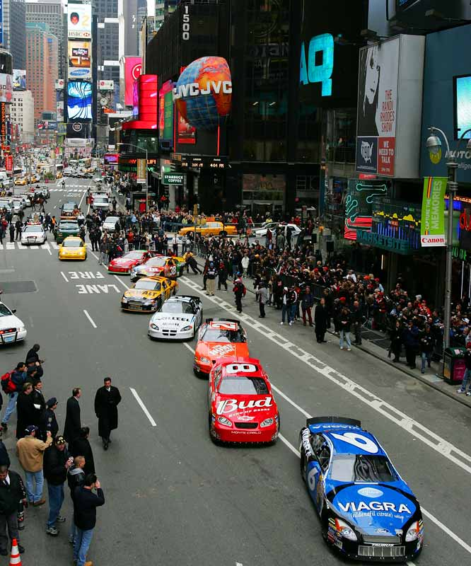 In a bold step in hopes of expanding its fan base beyond its southern roots, NASCAR moved its awards banquet to the Waldolf-Astoria hotel in Manhattan. The event has now grown into a Champion's Week affair, with the top drivers zooming around Times Square in the Manhattan Mile.