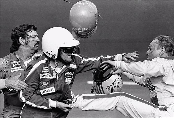 Thanks to a new agreement with CBS, the Daytona 500 was broadcast on national TV for the first time in its entirety. NASCAR did not disappoint in the drama department, with Cale Yarborough (right) and the Allison brothers (Donnie and Bobby) in a heated argument that resulted in post-race fisticuffs. NASCAR fans consider this race to be the turning point for stock-car racing becoming a mainstream sport.