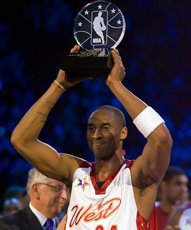 Kobe's 31 points, six assists and six steals earned him his second All-Star MVP award.