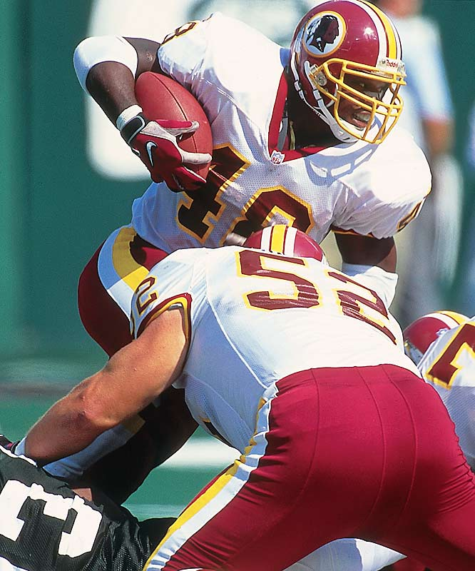 The powerful Davis excelled as Turner's primary back in Washington, rushing for 1,405 yards and 17 TDs in just 14 games in 1999 and 1,318 yards in 2000.