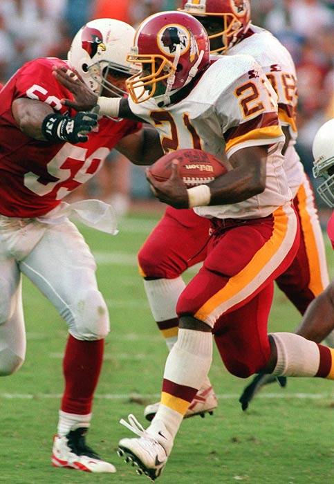 Allen was a journeyman running back until he joined Turner's Redskins in 1995. Allen topped 1,300 yards in '95 and '96 and ran for 21 TDs in '96. Injuries then limited his career.