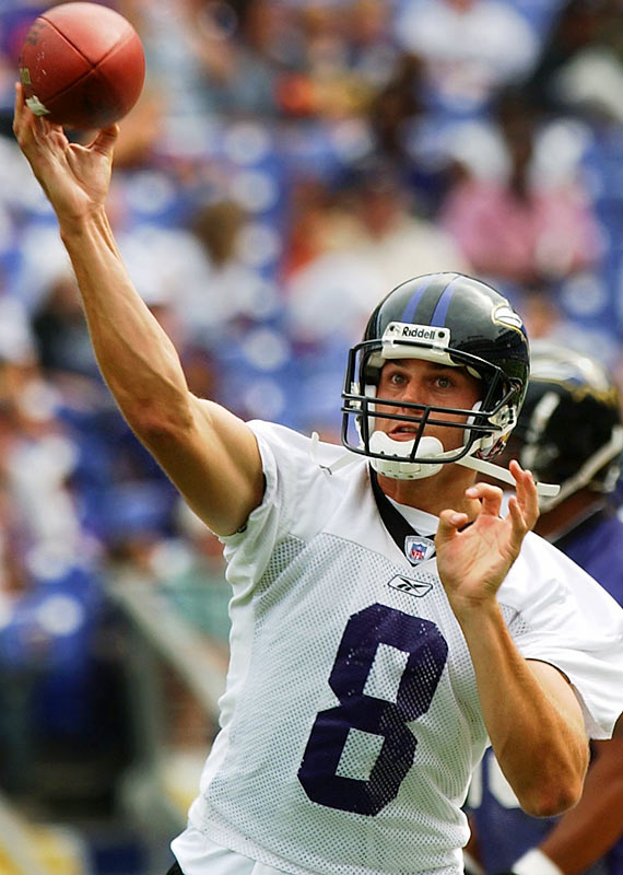 Boller wowed scouts by throwing from the 50 while on his knees a ball that went through the goalpoast. Despite his arm strength, Boller had little success after the Ravens took him in the first round of the 2003 draft, losing his starting spot before bouncing around the NFL and retiring before the 2012 season.