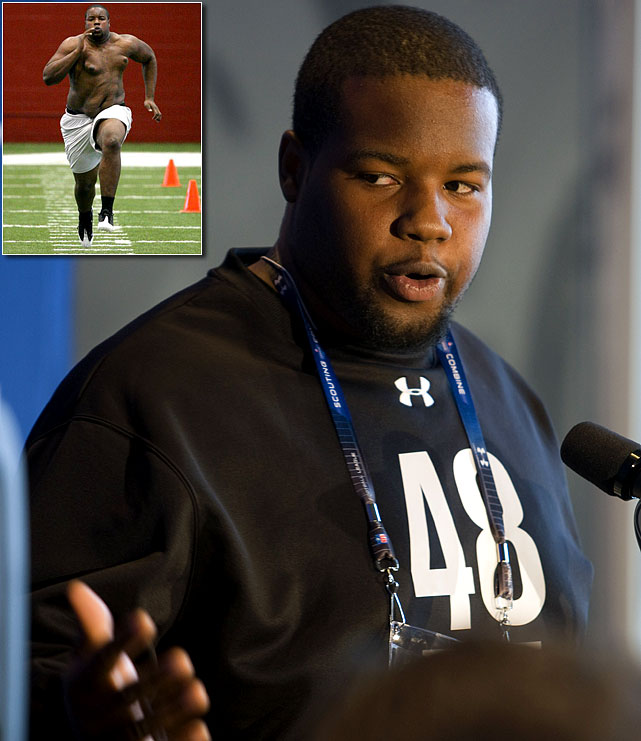 Alabama OT Andre Smith was regarded as one of the best linemen before the 2009 combine. But Smith raised doubts when he showed up weighing a staggering 332 pounds. His decision to run the 40-yard-dash shirtless was just as bad as his time of 5.28. To top it off, he decided to leave the combine early without informing the NFL. The Bengals still took a chance on Smith with the sixth overall pick. A disappointment in his first two years in the NFL, Smith earned the starting right tackle spot in 2011 and turned in his best season in 2012.