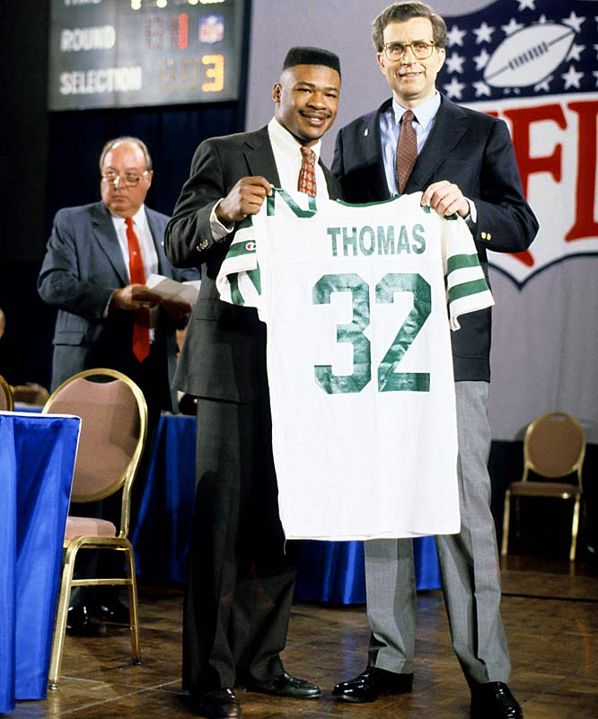 The Penn State RB supposedly ran a 4.4 40 at the 1990 combine before being taken No. 2 overall by the Jets. Thomas had a disappointing six-year career. Emmitt Smith, who went on to become the NFL's all-time rushing leader, ran a 4.7 40 that year and fell to No. 17 in the first round.