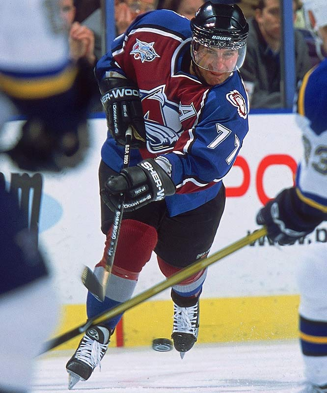 Boston's iconic, high-scoring backliner was dealt to Colorado at the deadline, hoping to finally win the Cup. The Avs fell in the Western Conference final, but Bourque ultimately sipped from the chalice in 2001 -- his 22nd and final season -- after contributing 10 points in 21 postseason games.