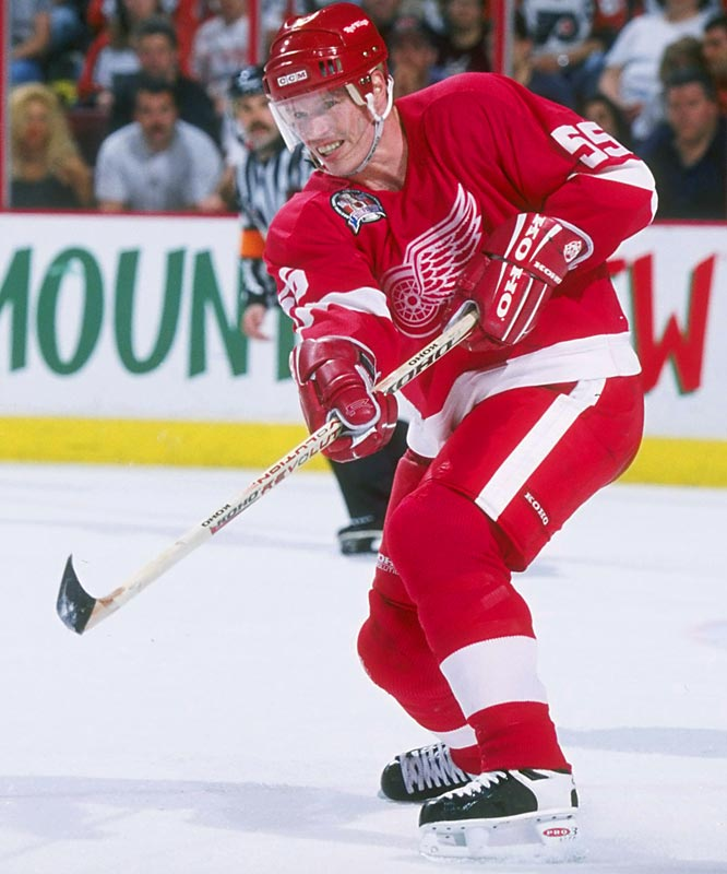 The offensively gifted veteran, who won two Cups with Pittsburgh, was acquired from Toronto on March 18. The Wings went on to win the Cup, the first of their two consecutive championships with the future Hall of Famer on the backline.
