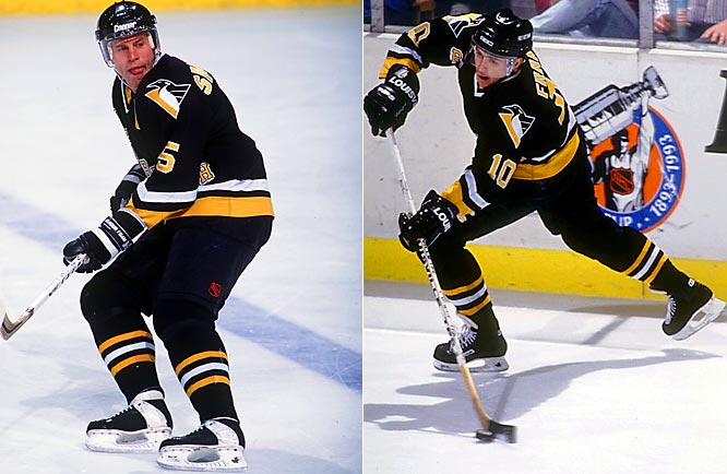 Pittsburgh's run of two successive Cups began after Francis arrived from Hartford on March 4. One of the best two-way forwards, he scored 17 points in the postseason and became a Pens' mainstay for seven seasons. Feared blueliner Samuelsson, acquired with Francis, added bruising physicality.