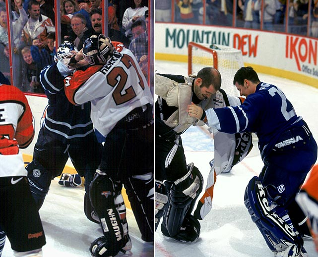 In yet another legendary tussle, Hextall tangled with The Cat, the two trading blows until they ended up seemingly heaving in tearful remorse on each other's shoulders. The group hug with the refs at the end was truly touching. Click here to watch the fight!