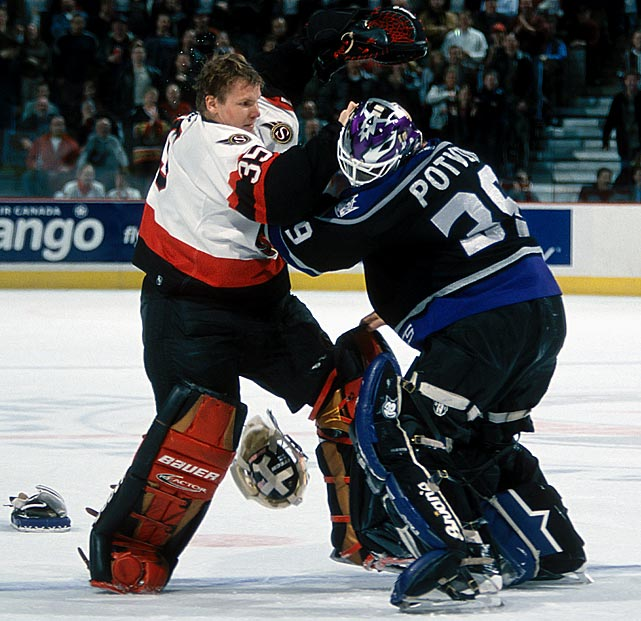 After Senator Andre Roy incidentally tripped over Potvin twice, he responded with a pair of crosschecks, which the netminder acknowledged by throwing a few wild punches. Once the rest of the Kings came in to defend their goalie's honor, mayhem ensued, and Jani Hurme joined the fray. With Hurme looking for a dance partner, Potvin skated across the ice, happy to oblige. Click here to watch the fight!