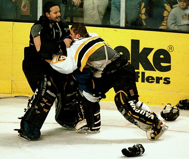 More of a rescue than a fight, Bruin Dafoe yanked Kolzig out of a decidedly one-sided engagement, sparing the Capital punishment that was far worse than the tugs, shoves and commentary the two netminders would share. Click here to watch the fight!