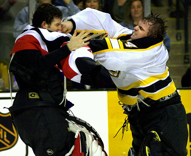 As the Senators and Bruins commenced to dealing knuckles, the goaltenders met in an embrace that suggested a reunion of long-lost relatives. The good will, of course, did not last and the ensuing display would have made the Three Stooges proud. Click here to watch the fight!