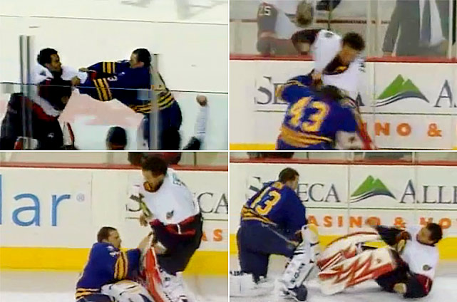 Ottawa's Razor Ray had a respected track record as a pugilist, and his skills were on display in this fight with Buffalo's Biron. After whacking his way past his first adversary, Emery found himself exchanging fistic pleasantries with ornery winger Andrew Peters. Click here to watch the fight!