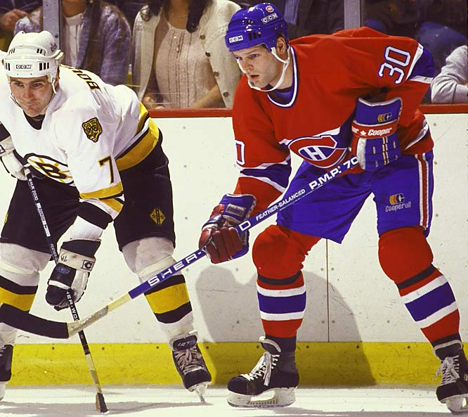 About as subtle as a flying mallet, Knuckles Nilan racked up a record 10 penalties (six minors, two majors, 10-minute misconduct, game misconduct) in one memorable tilt against Hartford in 1991. He had two stints with Montreal and threw punches for the Bruins and Rangers. He was also the subject of the 2011 film about enforcers called <italics>The Last Gladiators</italics>.