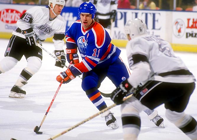 Following the stunning trade of Gretzky to the L.A. Kings on Aug. 9, 1988, Messier assumed the captaincy of the Oilers. Eager to prove he could sustain the team's excellence, he scored 33 goals and 94 points, but the Oilers fell in the first round of the playoffs -- to Gretzky's Kings, who rallied from a 3-games-to-1 deficit.