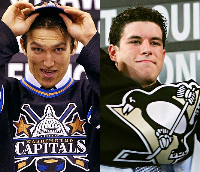 The NHL's two brightest young stars entered the league at the start of the 2005-06 season. Russian scoring wizard Alexander Ovechkin was drafted first overall by the Capitals in 2004. Canadian junior phenom Sidney Crosby rode in on a wave of hype as the next Gretzky as the first overall pick by the Penguins in 2005.