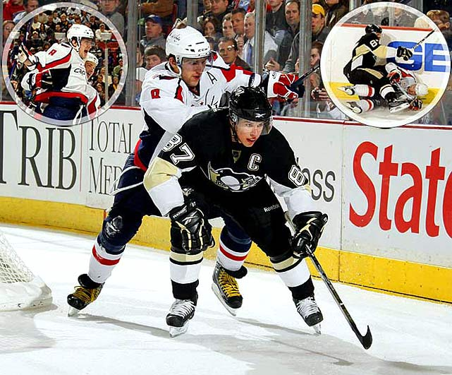 The rivalry boiled as the Caps snapped a three-game losing skid with A.O. scoring twice and adding an assist in a 6-3 win over the sagging Penguins in Pittsburgh on Jan. 14, 2009. It was the first meeting of the teams since Caps winger Alex Semin publicly disparaged Sidney Crosby, and Washington added injury to insult while handing the Pens their eighth loss in their last 10 games. Crosby (two assists) left late in the game after a collision with David Steckel (right inset).  Ovechkin was expected to renew his physical feud with Evgeni Malkin, but turned his ire on Crosby, as the two exchanged words as the teams skated out to start the third period.