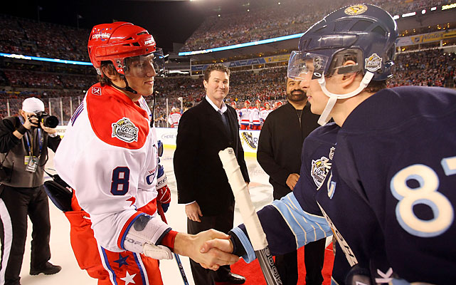 Neither Ovechkin nor Crosby scored in the Winter Classic, so their biggest highlight may have been the ceremonial puck drop with Mario Lemieux, Jerome Bettis and Franco Harris on the red carpet. Ovechkin's Caps got the better of Crosby's Pens thanks to unheralded Eric Fehr, who scored twice in a 3-1 win.