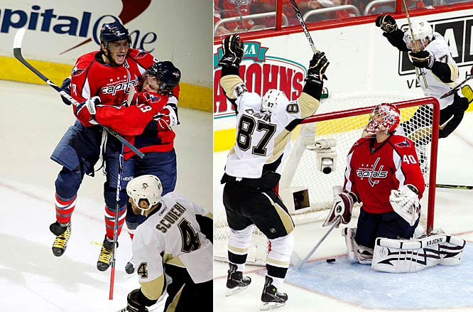 "After holding Ovechkin to one goal while squaring the series in Pittsburgh, the Penguins stunned the Caps, 4-3, in Game 5 in Washington when Malkin's power-play pass to Crosby was broken up by sliding defenseman Tom Poti only to have the puck get past Varlamov at 3:28 of OT. The Pens had rallied from a 2-1 deficit after two periods and withstood Ovechkin's two goals, including his tying tally with less than five minutes to go in regulation. ""These games come down to mistakes and bounces,'' Crosby said. ''And we got a good bounce there on the last goal.''"