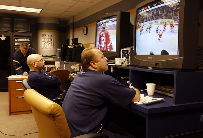 After a tough loss to the Montreal Canadiens in a shootout on Feb. 22, the Nashville Predators get ready for their next match - against their Central Division rivals, the Detroit Red Wings, at home. Here is an inside look in the preparation going into that game. <br><br> Friday 8:43AM<br> Head coach Barry Trotz (right) and video coach Robert Bouchard go over video of the Red Wings. All talk of the galling loss to Montreal -- in which the Preds blew three two-goal leads -- has been strictly forbidden by Trotz. The focus is solely on Detroit now.