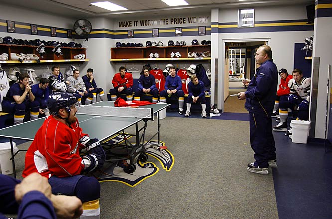 Friday 10:50AM<br> Head coach Barry Trotz talks to his players in the locker room before practice.