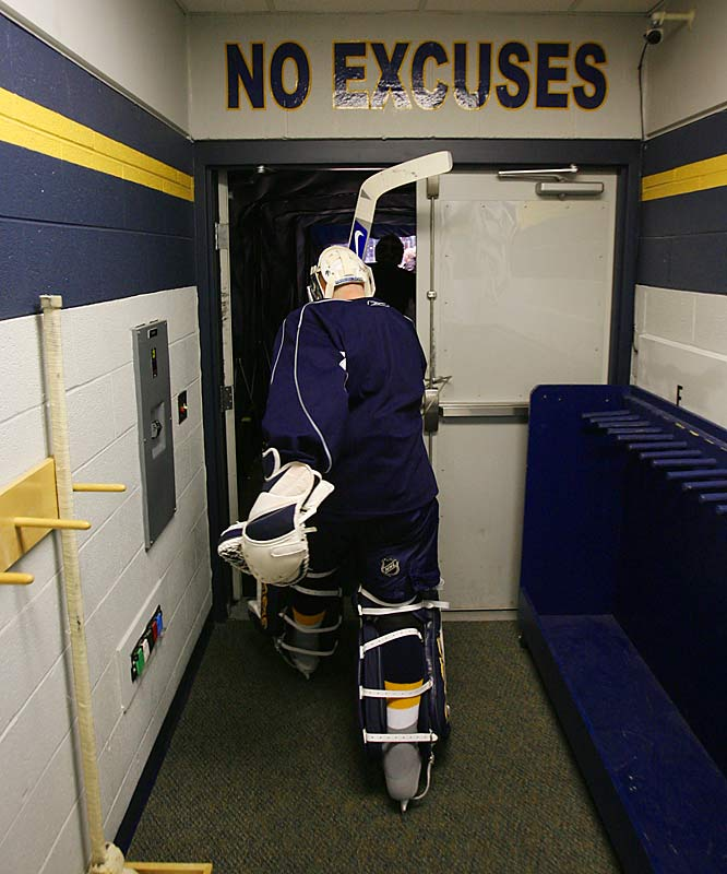Saturday 10:05AM<br> Goalie Chris Mason heads to the ice for the morning skate. Mason did not start that night.