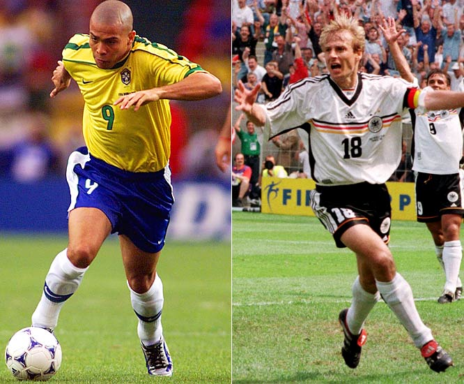 Brazil's and West Germany's three consecutive World Cup finals teams. Brazil won in 1994 and 2002, but lost to France in 1998. Ronaldo (pictured) was on all three squads. West Germany lost in the 1982 and 1986 finals, but beat Argentina in 1990 with Jurgen Klinsmann (pictured).