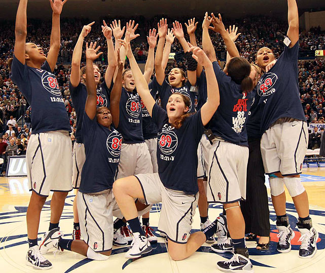 On Dec. 21, 2010, the Connecticut women broke the UCLA men's NCAA record of 88 consecutive wins (1971-74), demolishing Florida State 93-62 for victory No. 89. Nine days later, Stanford would usurp UConn, officially ending the streak at 90.