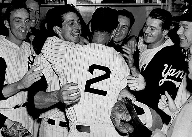 The Yankees five straight World Series titles, from 1949 to 1953. Billy Martin (third from left) drove in the decisive run in the ninth inning of the '53 Series clincher against the Dodgers.